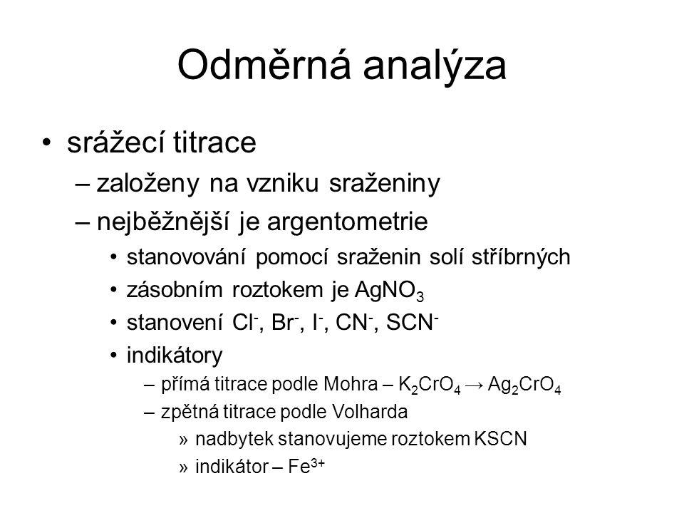 Odměrná analýza srážecí titrace –založeny na vzniku sraženiny –nejběžnější je argentometrie stanovování pomocí sraženin solí stříbrných zásobním rozto