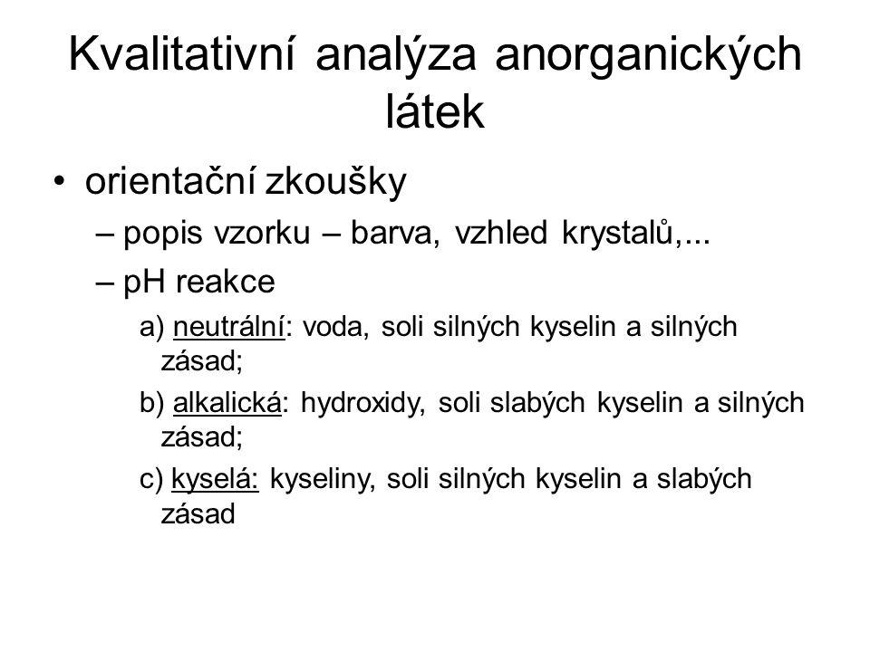 Kvalitativní analýza anorganických látek orientační zkoušky –popis vzorku – barva, vzhled krystalů,... –pH reakce a) neutrální: voda, soli silných kys