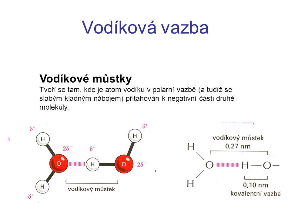 Vodíková vazba Vodíkové můstky Tvoří se tam, kde je atom vodíku v polární vazbě (a tudíž se slabým kladným nábojem) přitahován k negativní části druhé molekuly.