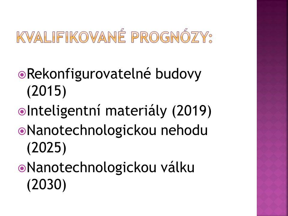  Rekonfigurovatelné budovy (2015)  Inteligentní materiály (2019)  Nanotechnologickou nehodu (2025)  Nanotechnologickou válku (2030)