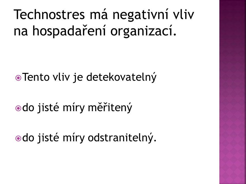 Technostres má negativní vliv na hospadaření organizací.  Tento vliv je detekovatelný  do jisté míry měřitený  do jisté míry odstranitelný.