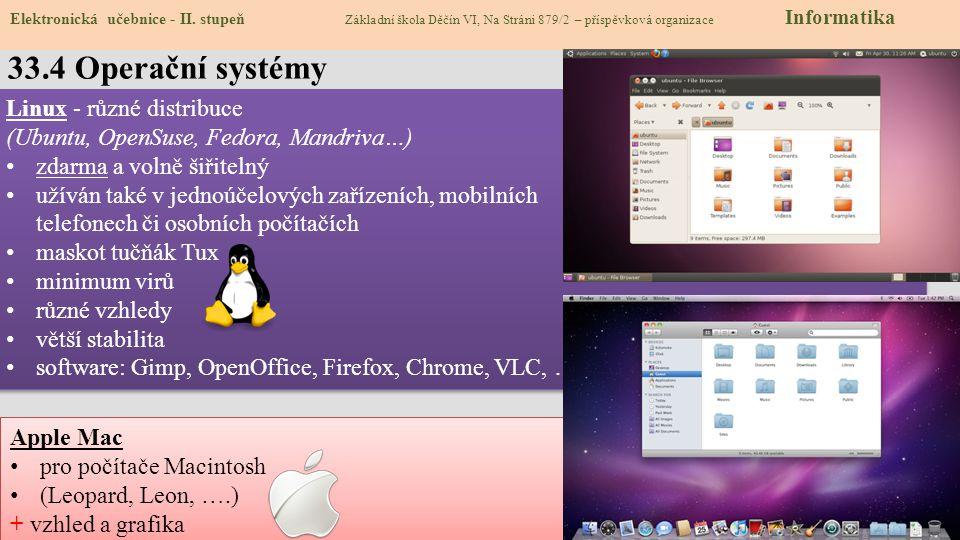 33.4 Operační systémy Elektronická učebnice - II.