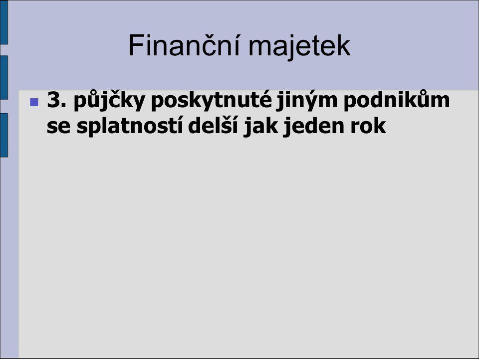 Finanční majetek 3. půjčky poskytnuté jiným podnikům se splatností delší jak jeden rok