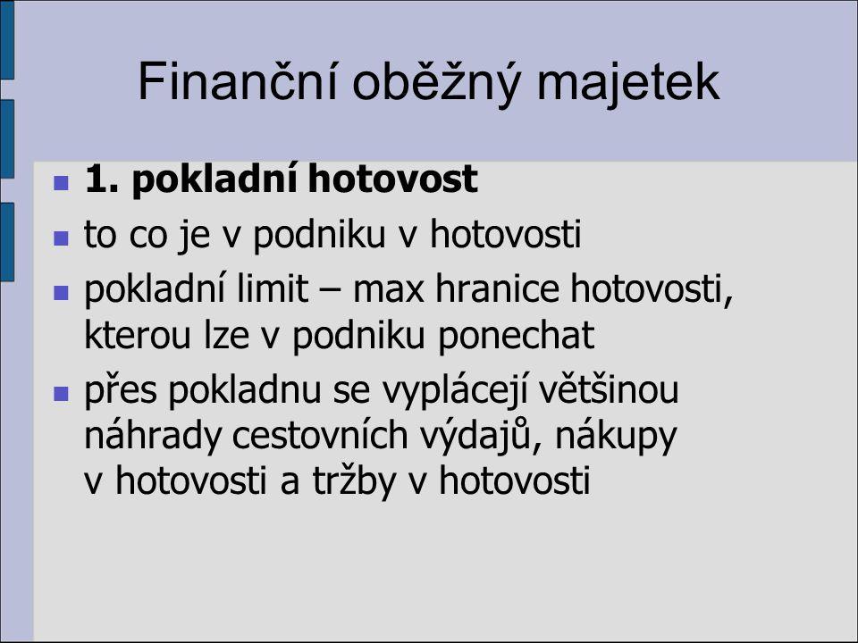 Finanční oběžný majetek 1. pokladní hotovost to co je v podniku v hotovosti pokladní limit – max hranice hotovosti, kterou lze v podniku ponechat přes