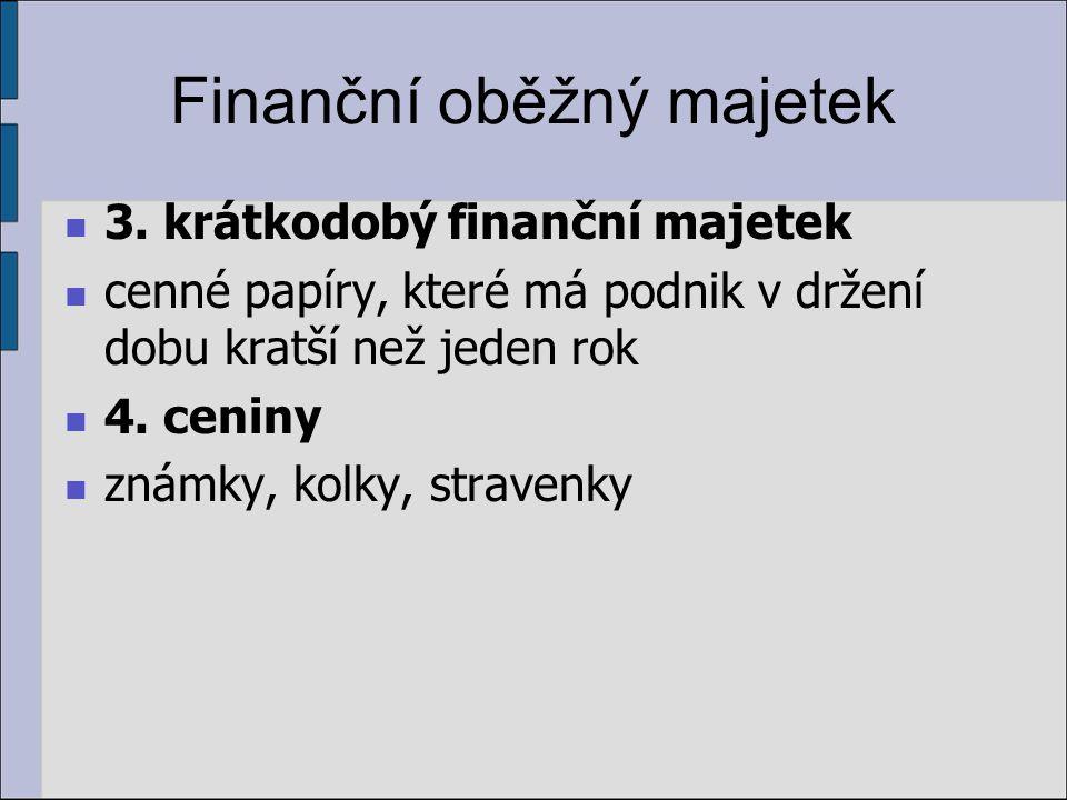 Finanční oběžný majetek 3. krátkodobý finanční majetek cenné papíry, které má podnik v držení dobu kratší než jeden rok 4. ceniny známky, kolky, strav