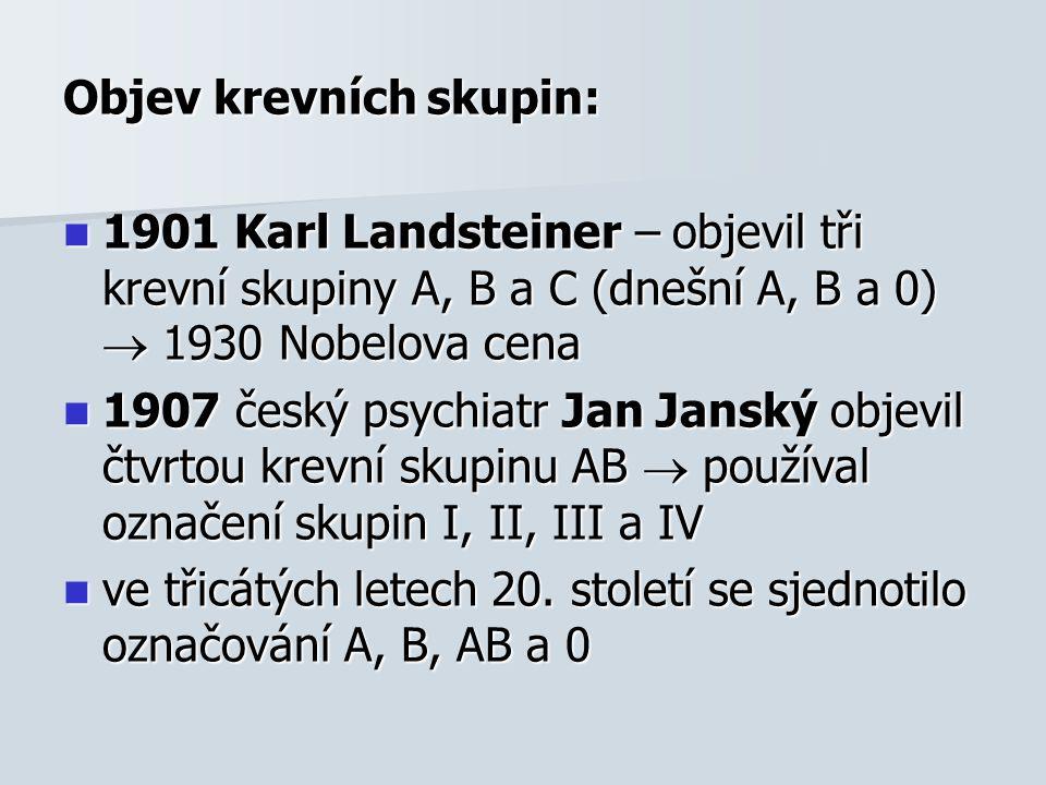 Objev krevních skupin: 1901 Karl Landsteiner – objevil tři krevní skupiny A, B a C (dnešní A, B a 0)  1930 Nobelova cena 1901 Karl Landsteiner – objevil tři krevní skupiny A, B a C (dnešní A, B a 0)  1930 Nobelova cena 1907 český psychiatr Jan Janský objevil čtvrtou krevní skupinu AB  používal označení skupin I, II, III a IV 1907 český psychiatr Jan Janský objevil čtvrtou krevní skupinu AB  používal označení skupin I, II, III a IV ve třicátých letech 20.