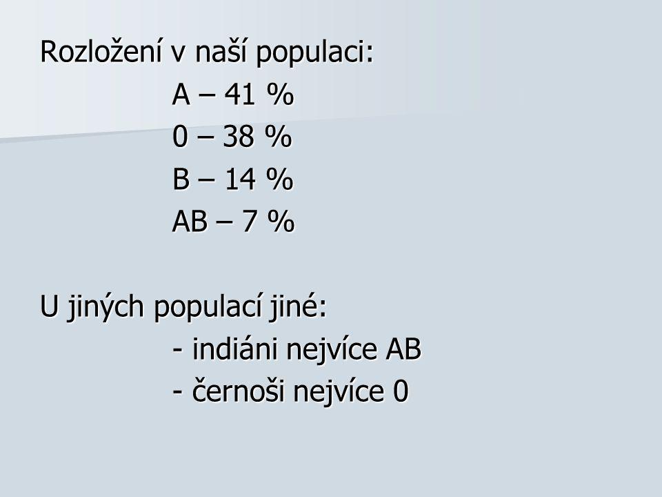 Rozložení v naší populaci: A – 41 % 0 – 38 % B – 14 % AB – 7 % U jiných populací jiné: - indiáni nejvíce AB - černoši nejvíce 0