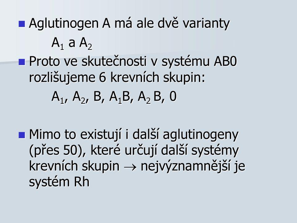 Aglutinogen A má ale dvě varianty Aglutinogen A má ale dvě varianty A 1 a A 2 A 1 a A 2 Proto ve skutečnosti v systému AB0 rozlišujeme 6 krevních skupin: Proto ve skutečnosti v systému AB0 rozlišujeme 6 krevních skupin: A 1, A 2, B, A 1 B, A 2 B, 0 A 1, A 2, B, A 1 B, A 2 B, 0 Mimo to existují i další aglutinogeny (přes 50), které určují další systémy krevních skupin  nejvýznamnější je systém Rh Mimo to existují i další aglutinogeny (přes 50), které určují další systémy krevních skupin  nejvýznamnější je systém Rh