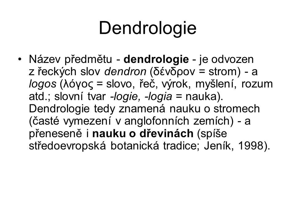 Dendrologie Název předmětu - dendrologie - je odvozen z řeckých slov dendron (δένδρον = strom) - a logos (λόγος = slovo, řeč, výrok, myšlení, rozum atd.; slovní tvar -logie, -logia = nauka).