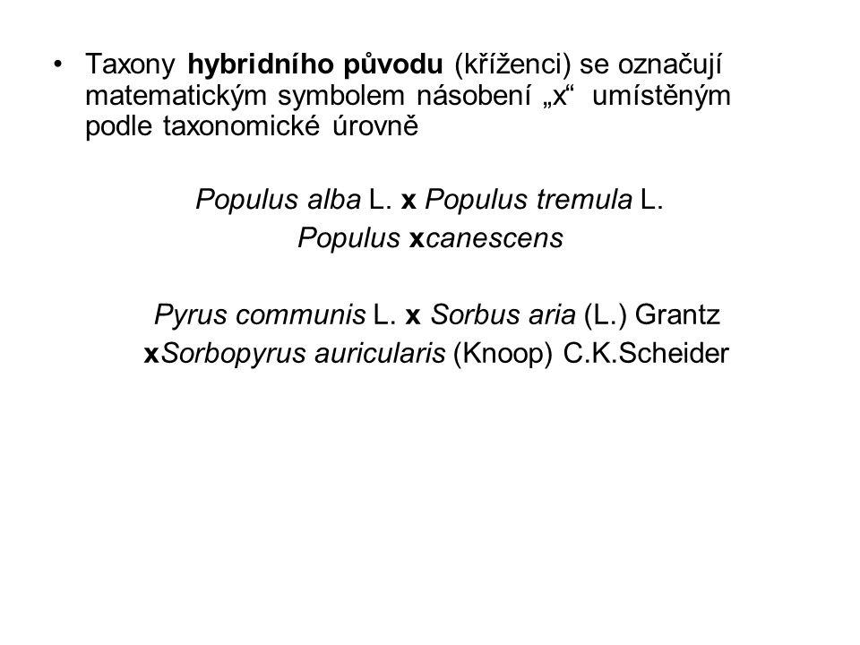 """Taxony hybridního původu (kříženci) se označují matematickým symbolem násobení """"x umístěným podle taxonomické úrovně Populus alba L."""