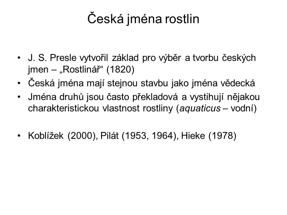 Česká jména rostlin J.S.