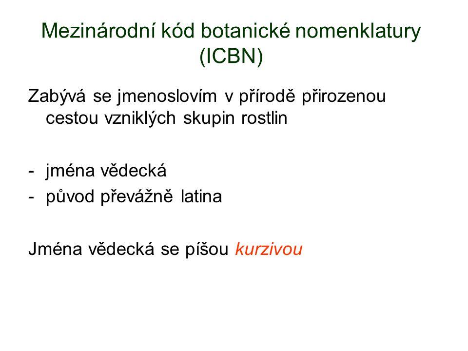 Mezinárodní kód botanické nomenklatury (ICBN) Zabývá se jmenoslovím v přírodě přirozenou cestou vzniklých skupin rostlin -jména vědecká -původ převážně latina Jména vědecká se píšou kurzivou