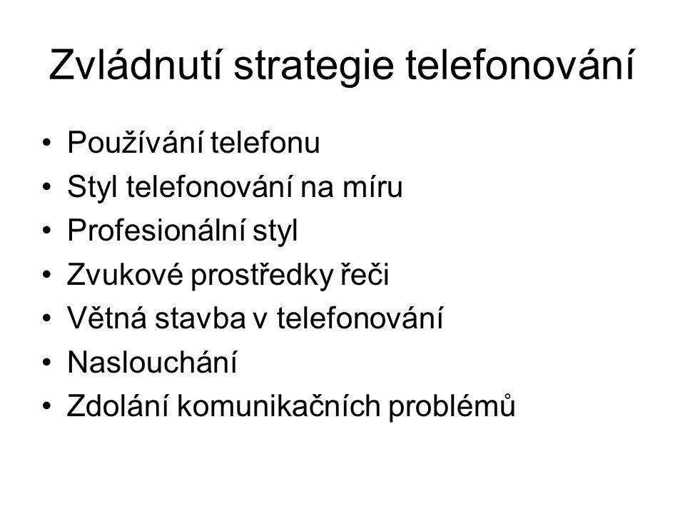 Zvládnutí strategie telefonování Používání telefonu Styl telefonování na míru Profesionální styl Zvukové prostředky řeči Větná stavba v telefonování N