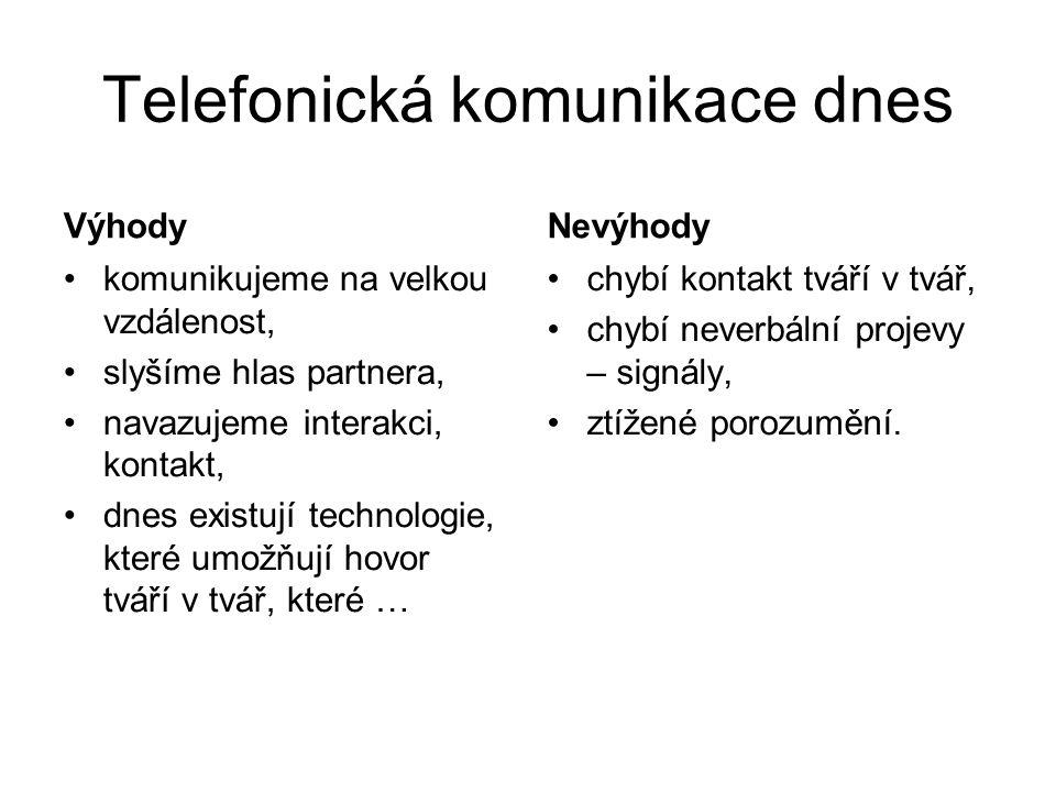 Telefonická komunikace dnes Výhody komunikujeme na velkou vzdálenost, slyšíme hlas partnera, navazujeme interakci, kontakt, dnes existují technologie,