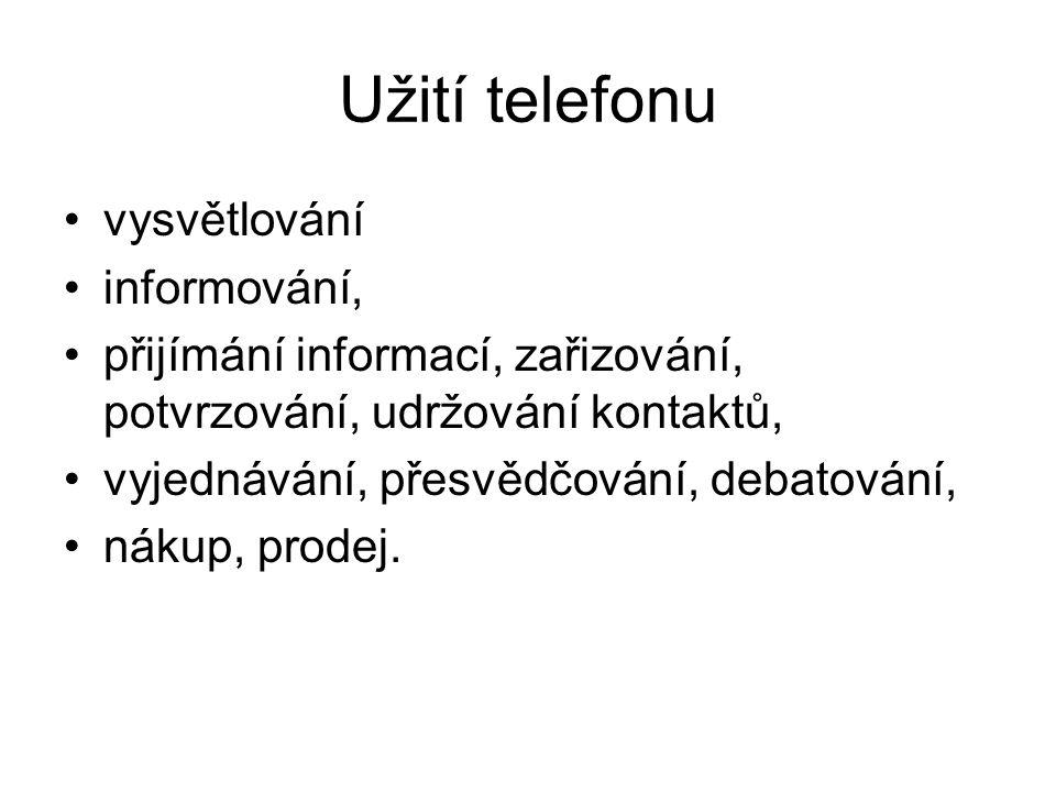 Celkové výhody telefonické komunikace 1.Rychlost 2.Osobní kontakt 3.Okamžitá zpětná vazba