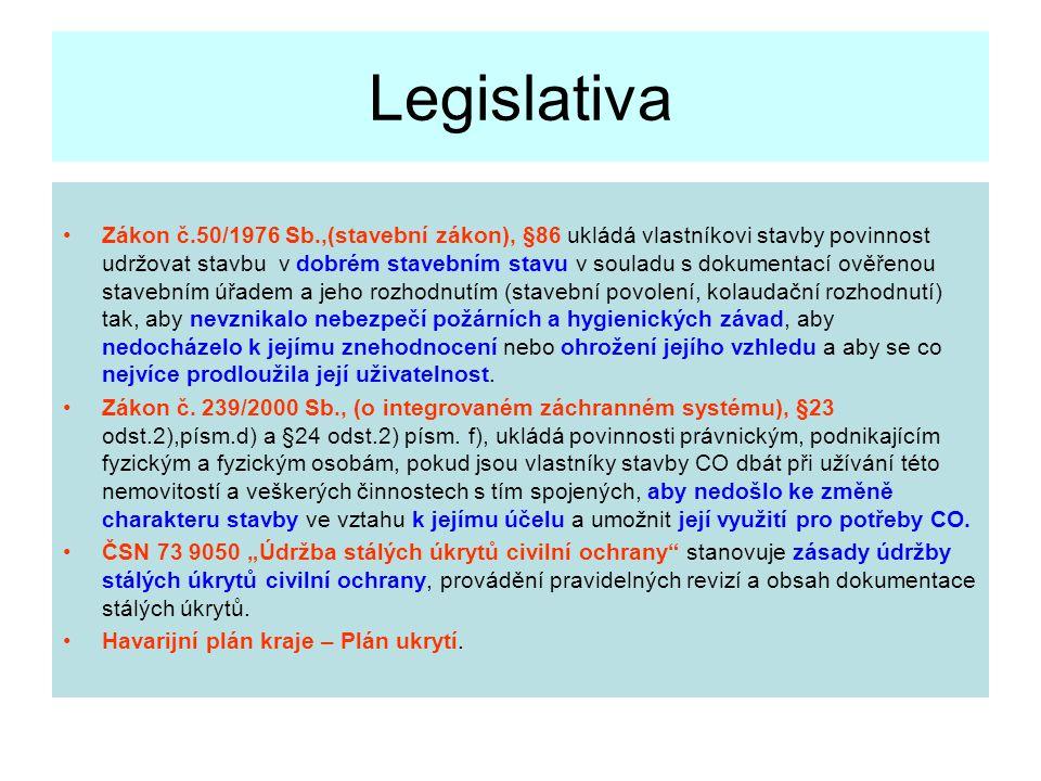 Legislativa Zákon č.50/1976 Sb.,(stavební zákon), §86 ukládá vlastníkovi stavby povinnost udržovat stavbu v dobrém stavebním stavu v souladu s dokumentací ověřenou stavebním úřadem a jeho rozhodnutím (stavební povolení, kolaudační rozhodnutí) tak, aby nevznikalo nebezpečí požárních a hygienických závad, aby nedocházelo k jejímu znehodnocení nebo ohrožení jejího vzhledu a aby se co nejvíce prodloužila její uživatelnost.
