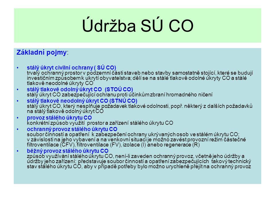 Údržba SÚ CO Základní pojmy: stálý úkryt civilní ochrany ( SÚ CO) trvalý ochranný prostor v podzemní části staveb nebo stavby samostatně stojící, které se budují investičním způsobem k ukrytí obyvatelstva; dělí se na stálé tlakově odolné úkryty CO a stálé tlakově neodolné úkryty CO stálý tlakově odolný úkryt CO (STOÚ CO) stálý úkryt CO zabezpečující ochranu proti účinkům zbraní hromadného ničení stálý tlakově neodolný úkryt CO (STNÚ CO) stálý úkryt CO, který nesplňuje požadavek tlakové odolnosti, popř.