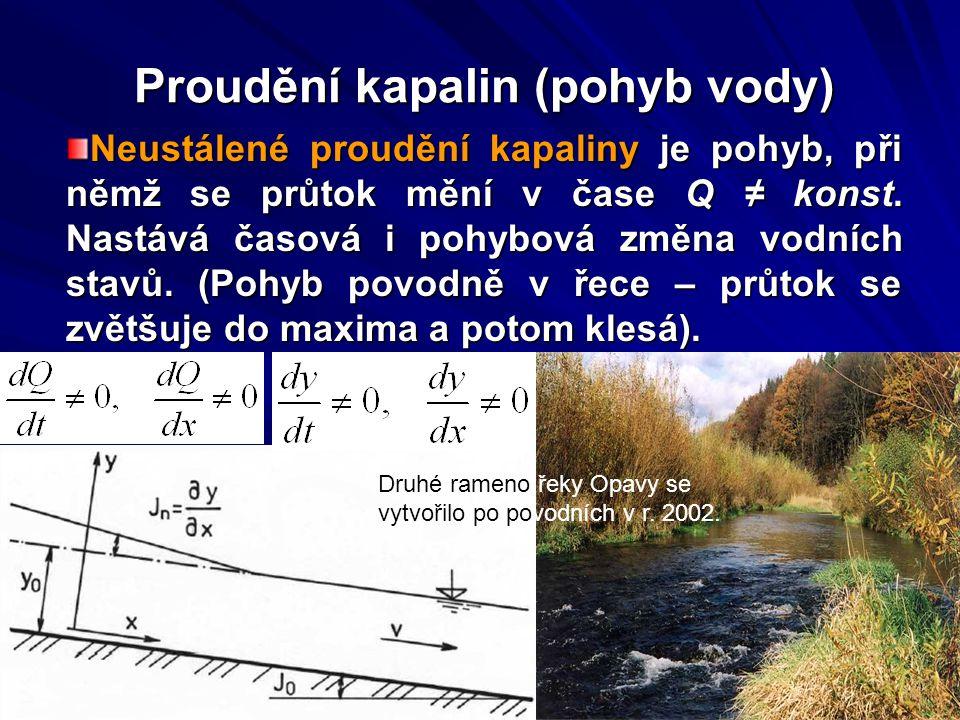 Proudění kapalin (pohyb vody) Neustálené proudění kapaliny je pohyb, při němž se průtok mění v čase Q ≠ konst. Nastává časová i pohybová změna vodních