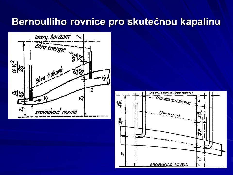 Bernoulliho rovnice pro skutečnou kapalinu