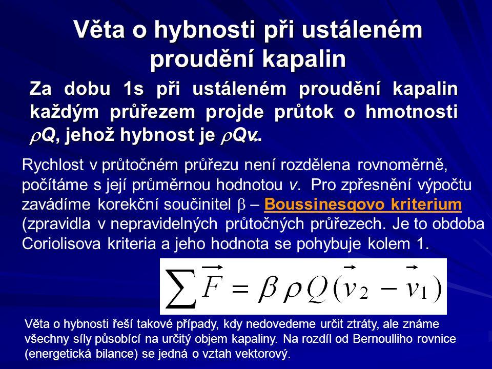 Věta o hybnosti při ustáleném proudění kapalin Za dobu 1s při ustáleném proudění kapalin každým průřezem projde průtok o hmotnosti  Q, jehož hybnost