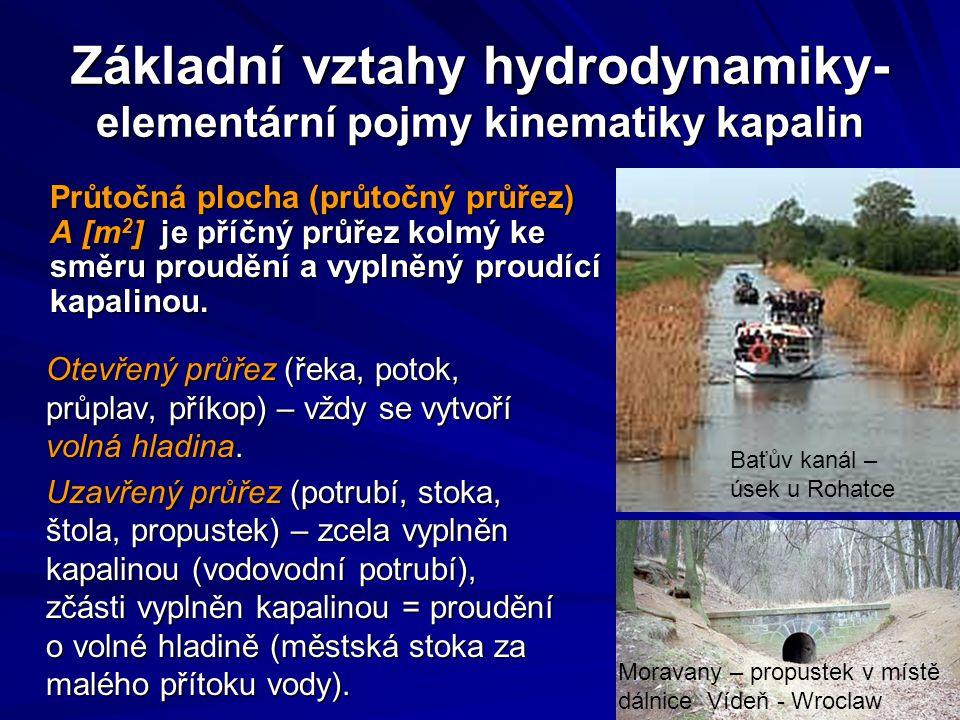 Základní vztahy hydrodynamiky- elementární pojmy kinematiky kapalin Otevřený průřez (řeka, potok, průplav, příkop) – vždy se vytvoří volná hladina. Uz