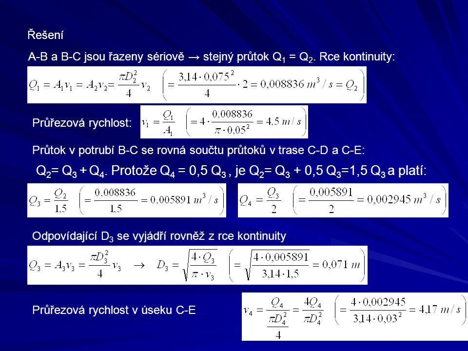 Řešení A-B a B-C jsou řazeny sériově → stejný průtok Q 1 = Q 2. Rce kontinuity: Průřezová rychlost: Průtok v potrubí B-C se rovná součtu průtoků v tra