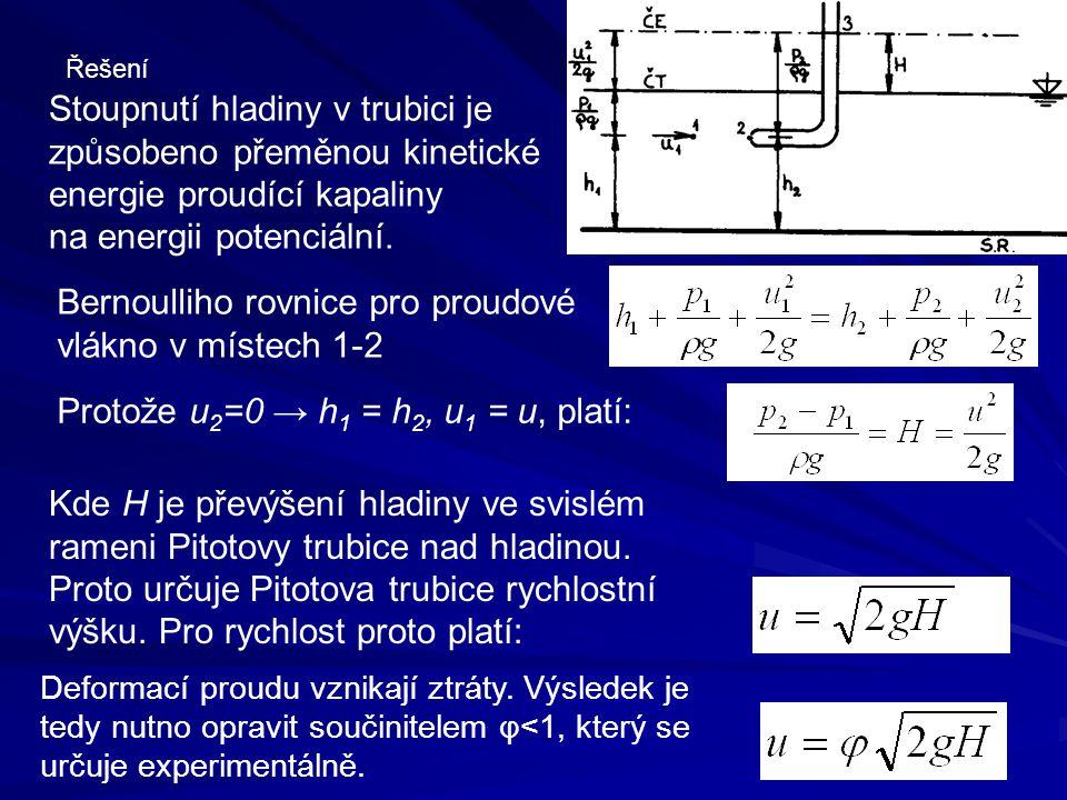 Řešení Stoupnutí hladiny v trubici je způsobeno přeměnou kinetické energie proudící kapaliny na energii potenciální. Protože u 2 =0 → h 1 = h 2, u 1 =