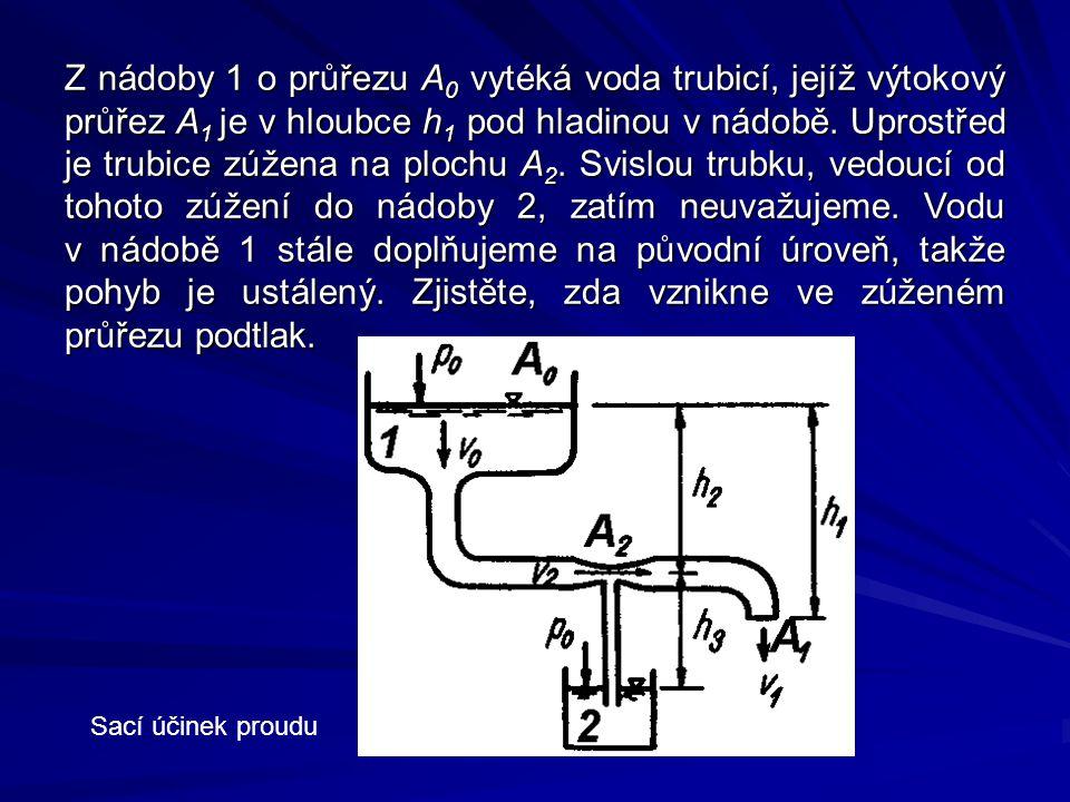 Z nádoby 1 o průřezu A 0 vytéká voda trubicí, jejíž výtokový průřez A 1 je v hloubce h 1 pod hladinou v nádobě. Uprostřed je trubice zúžena na plochu