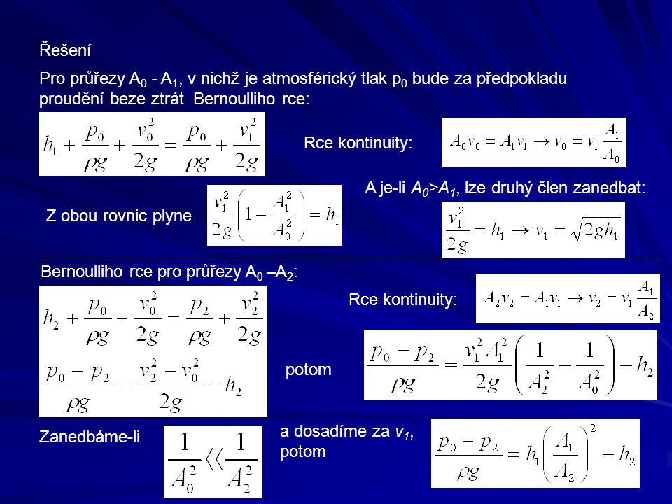 Řešení Pro průřezy A 0 - A 1, v nichž je atmosférický tlak p 0 bude za předpokladu proudění beze ztrát Bernoulliho rce: Rce kontinuity: Z obou rovnic