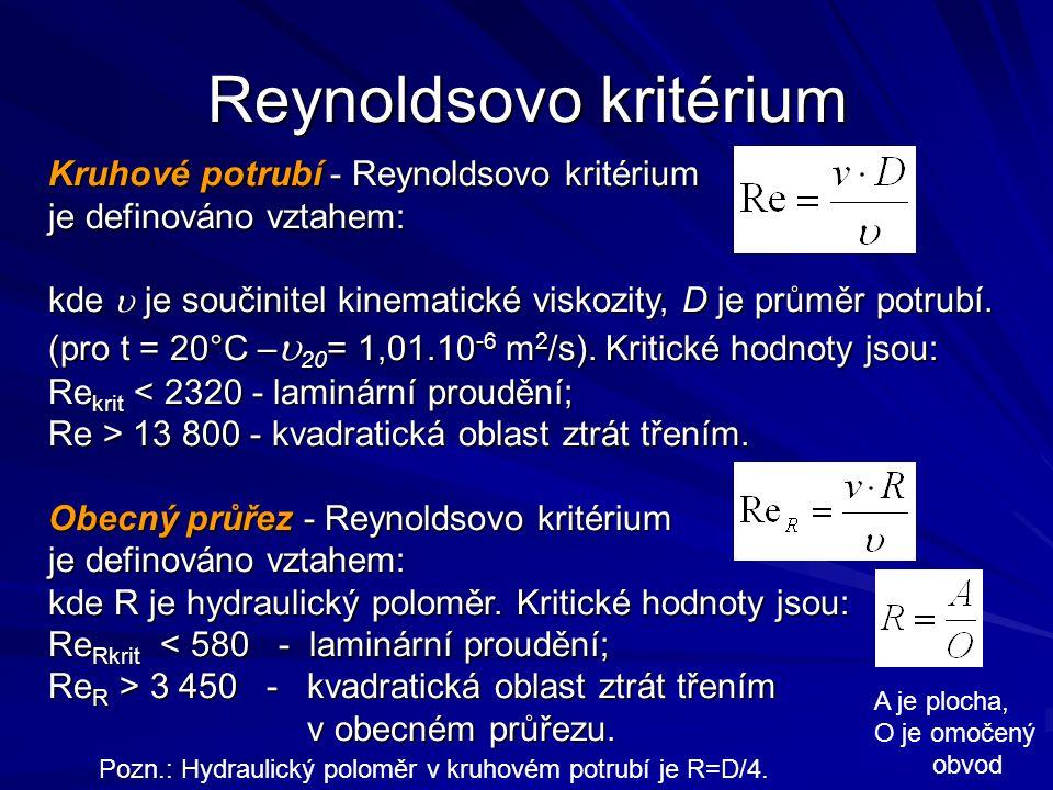 Kruhové potrubí - Reynoldsovo kritérium je definováno vztahem: kde  je součinitel kinematické viskozity, D je průměr potrubí. (pro t = 20°C –  20 =