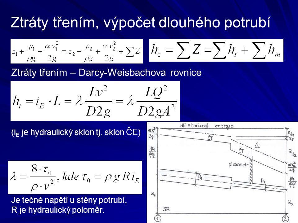Ztráty třením, výpočet dlouhého potrubí Ztráty třením – Darcy-Weisbachova rovnice (i E je hydraulický sklon tj. sklon ČE) Je tečné napětí u stěny potr