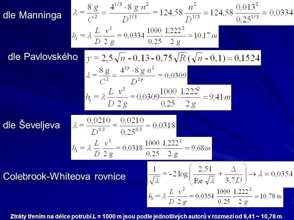dle Manninga dle Pavlovského dle Ševeljeva Colebrook-Whiteova rovnice Ztráty třením na délce potrubí L = 1000 m jsou podle jednotlivých autorů v rozme
