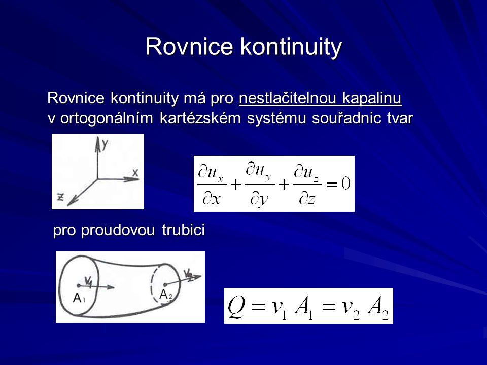 Rovnice kontinuity Rovnice kontinuity má pro nestlačitelnou kapalinu v ortogonálním kartézském systému souřadnic tvar Rovnice kontinuity má pro nestla