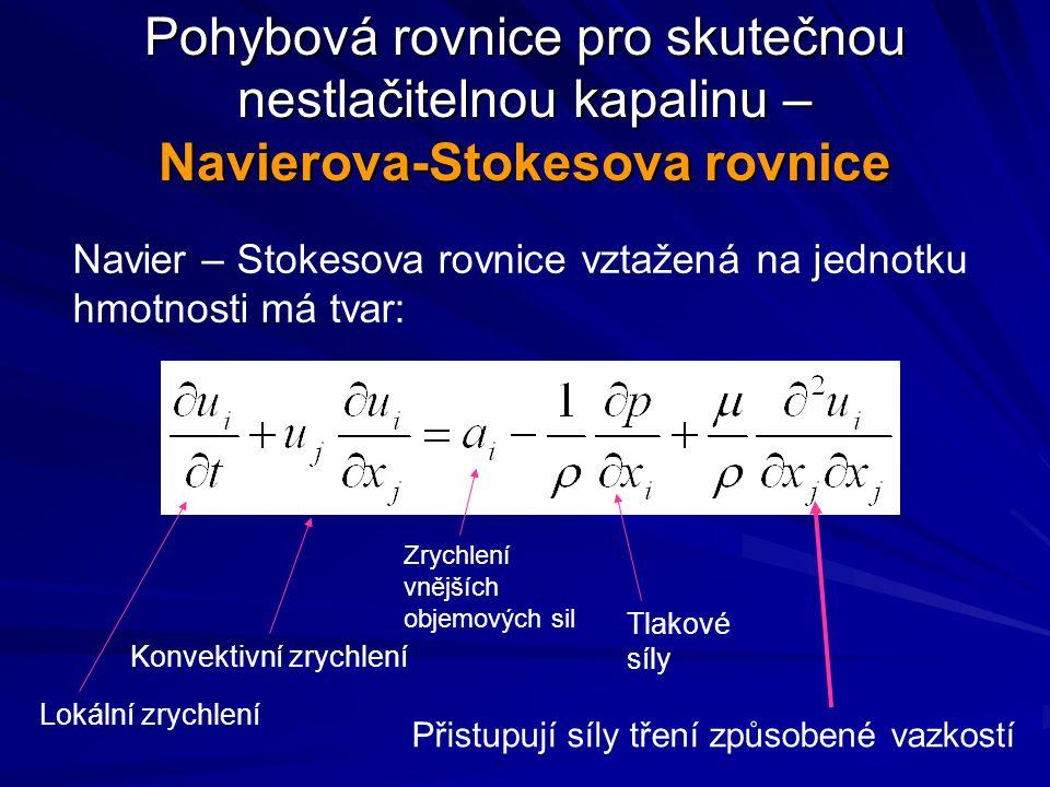 Pohybová rovnice pro skutečnou nestlačitelnou kapalinu – Navierova-Stokesova rovnice Navier – Stokesova rovnice vztažená na jednotku hmotnosti má tvar