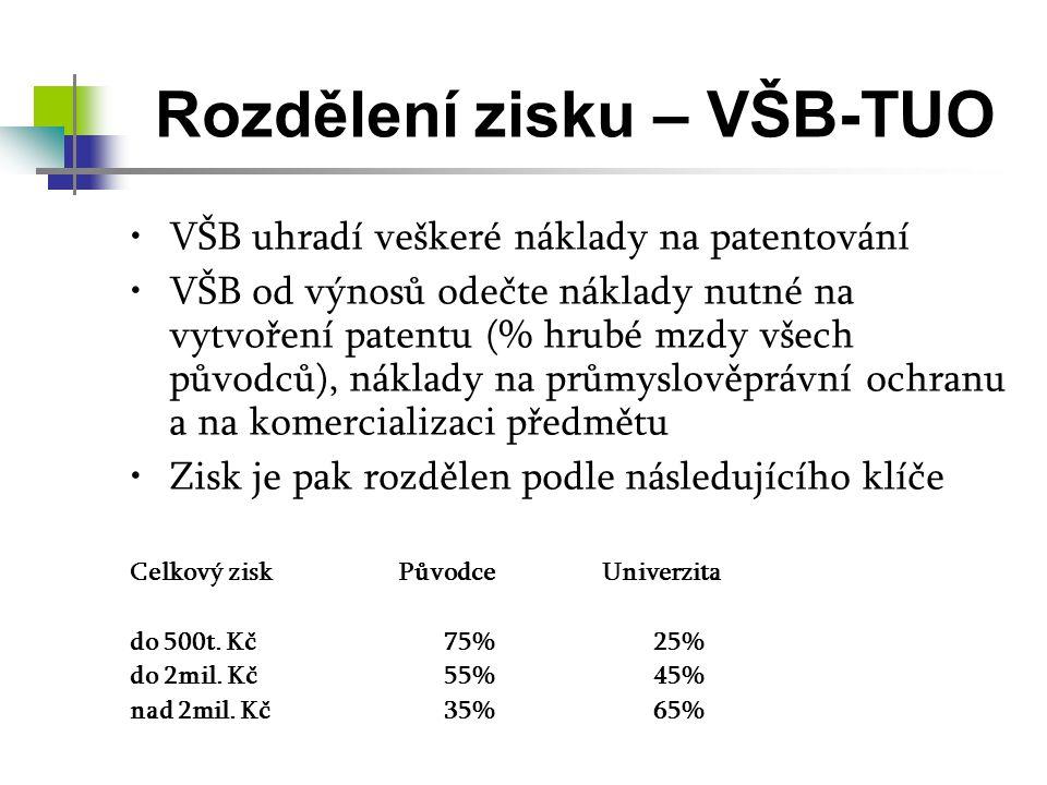 Rozdělení zisku – VŠB-TUO VŠB uhradí veškeré náklady na patentování VŠB od výnosů odečte náklady nutné na vytvoření patentu (% hrubé mzdy všech původců), náklady na průmyslověprávní ochranu a na komercializaci předmětu Zisk je pak rozdělen podle následujícího klíče Celkový zisk Původce Univerzita do 500t.