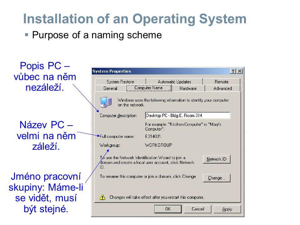 Installation of an Operating System  Purpose of a naming scheme Popis PC – vůbec na něm nezáleží.