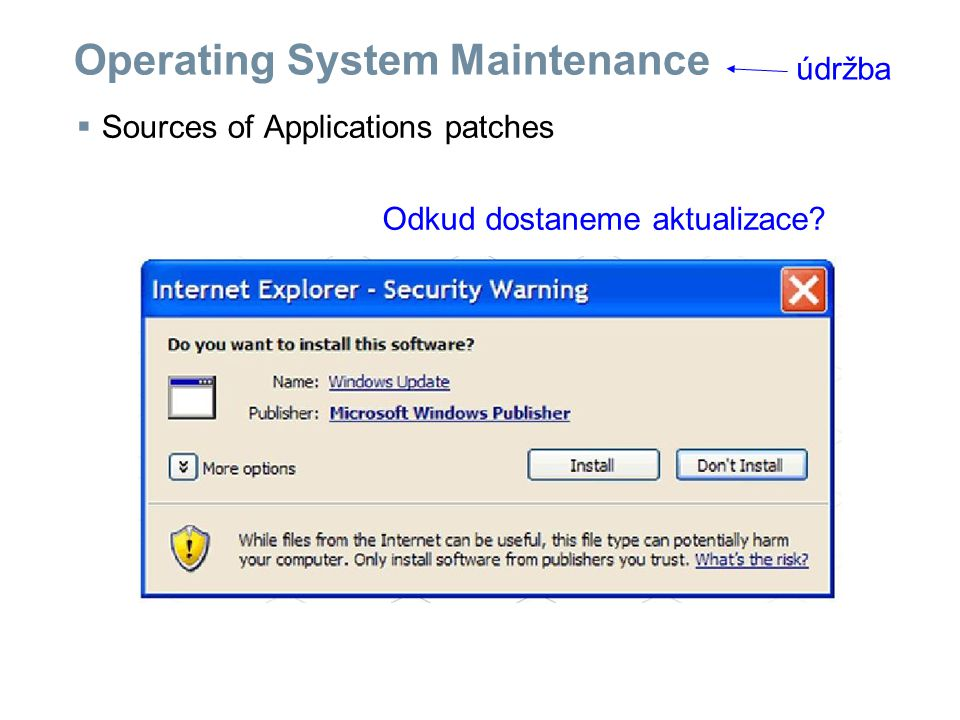 Operating System Maintenance  Sources of Applications patches údržba Odkud dostaneme aktualizace