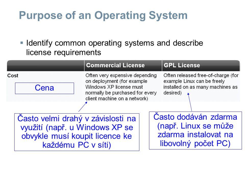Purpose of an Operating System  Identify common operating systems and describe license requirements Vývojový cyklus Velmi přísně členěný vývojový cyklus.