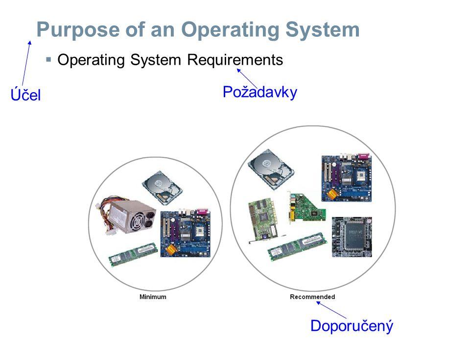 Purpose of an Operating System  How to select an operating system Podle čeho vybírat operační systém bezpečnost podpora politika vůči uživatelům cena na čem to běží dostupnost využití požadavky na PC