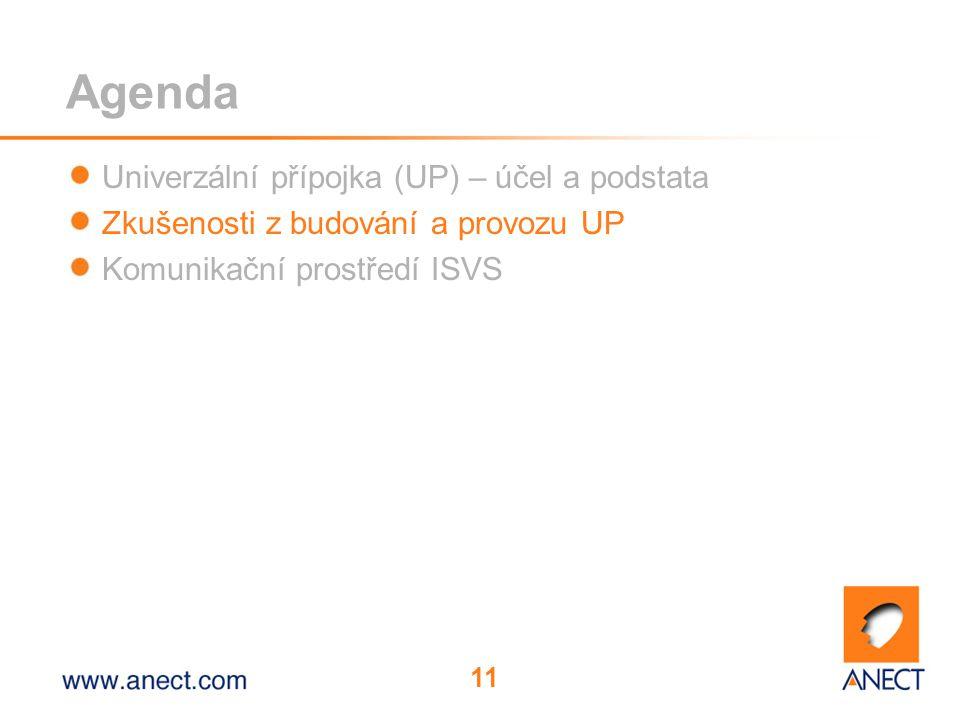 11 Agenda Univerzální přípojka (UP) – účel a podstata Zkušenosti z budování a provozu UP Komunikační prostředí ISVS