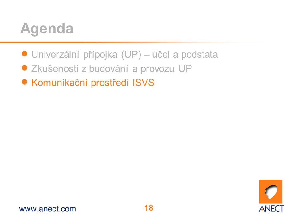 18 Agenda Univerzální přípojka (UP) – účel a podstata Zkušenosti z budování a provozu UP Komunikační prostředí ISVS