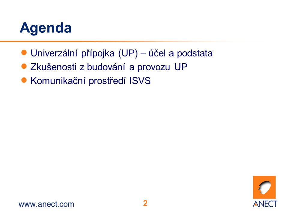 2 Agenda Univerzální přípojka (UP) – účel a podstata Zkušenosti z budování a provozu UP Komunikační prostředí ISVS