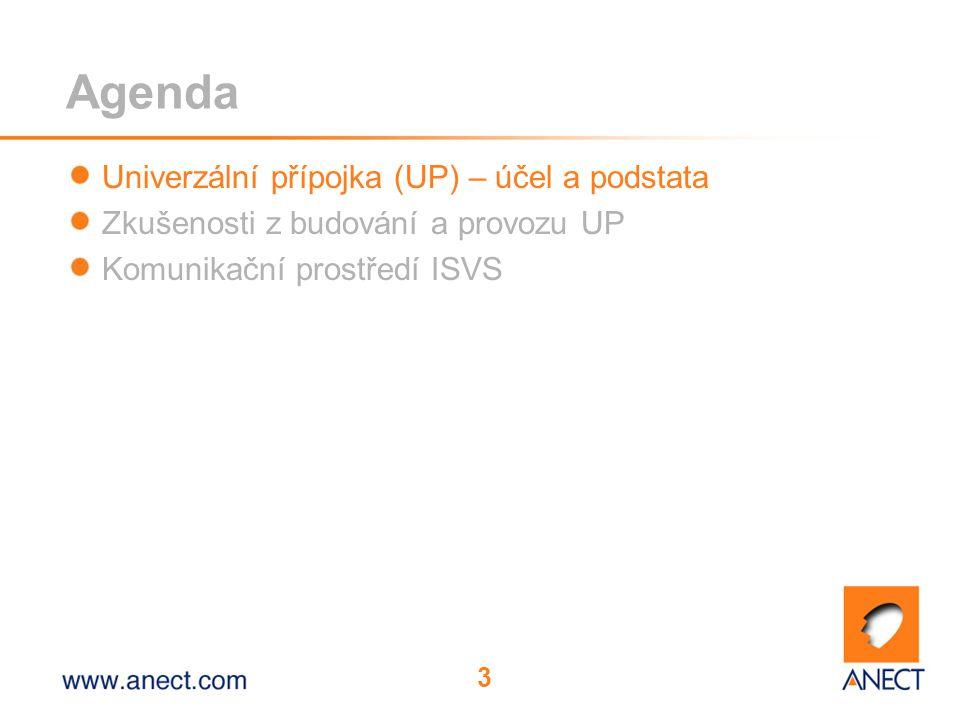 3 Agenda Univerzální přípojka (UP) – účel a podstata Zkušenosti z budování a provozu UP Komunikační prostředí ISVS