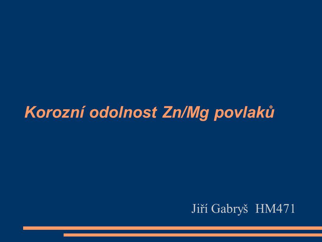 Korozní odolnost Zn/Mg povlaků Jiří Gabryš HM471