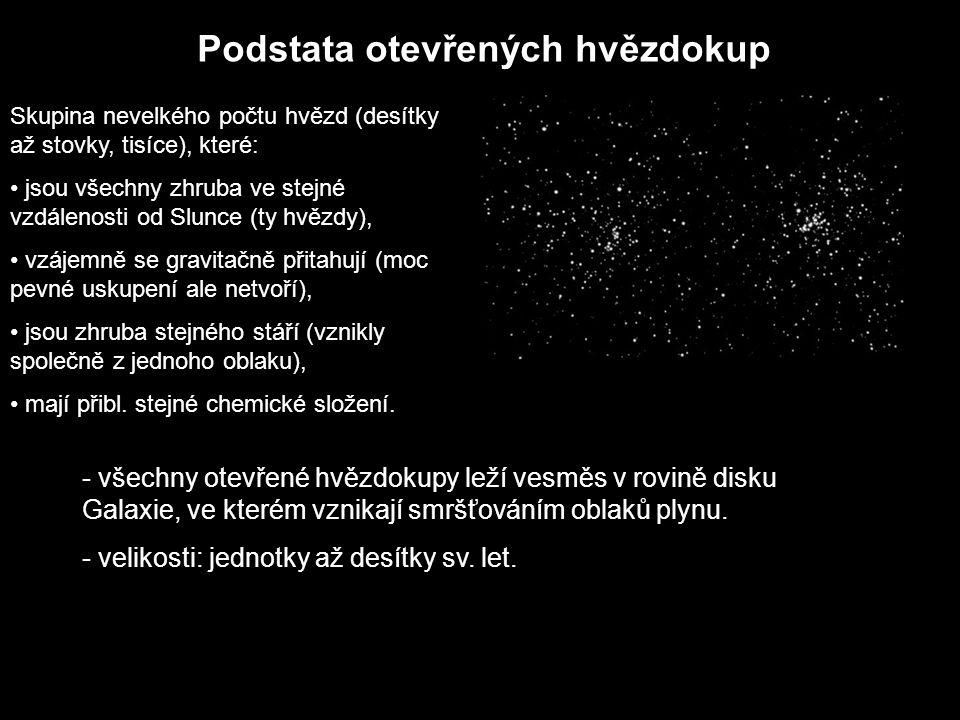 Podstata otevřených hvězdokup Skupina nevelkého počtu hvězd (desítky až stovky, tisíce), které: jsou všechny zhruba ve stejné vzdálenosti od Slunce (t