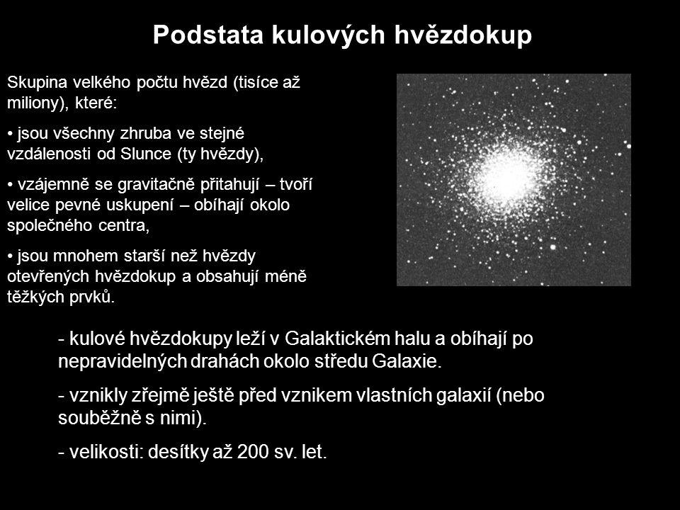 Podstata kulových hvězdokup Skupina velkého počtu hvězd (tisíce až miliony), které: jsou všechny zhruba ve stejné vzdálenosti od Slunce (ty hvězdy), v