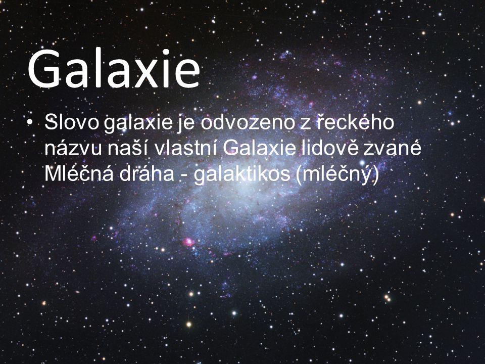 Galaxie Slovo galaxie je odvozeno z řeckého názvu naší vlastní Galaxie lidově zvané Mléčná dráha - galaktikos (mléčný)