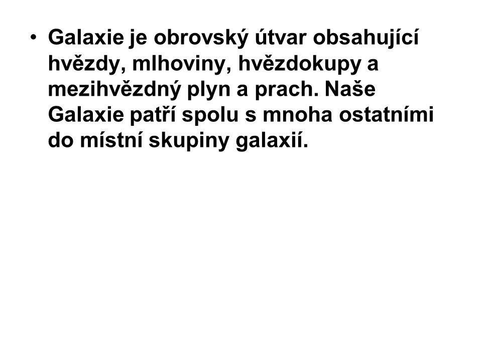 Dělí se do několika základních tříd: -Eliptická galaxie (E) -Spirální galaxie (S) -Spirální galaxie s příčkou (BS) -Nepravidelná galaxie (Irr)