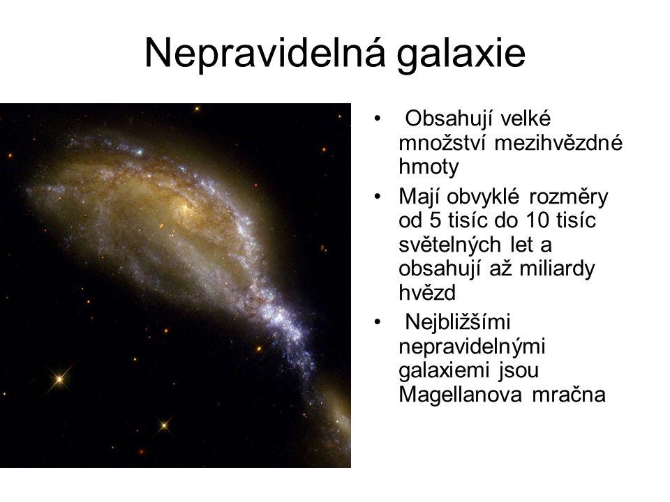 Nepravidelná galaxie Obsahují velké množství mezihvězdné hmoty Mají obvyklé rozměry od 5 tisíc do 10 tisíc světelných let a obsahují až miliardy hvězd