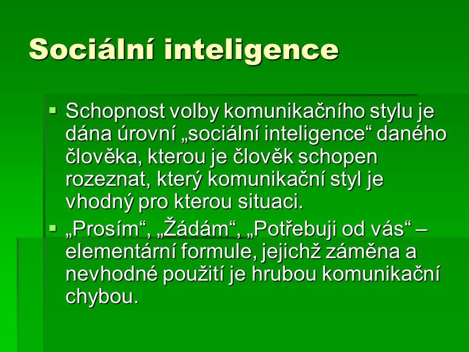 """Sociální inteligence  Schopnost volby komunikačního stylu je dána úrovní """"sociální inteligence daného člověka, kterou je člověk schopen rozeznat, který komunikační styl je vhodný pro kterou situaci."""